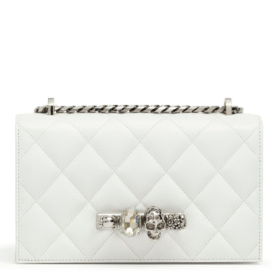 Quilted jewelled ivory satchel