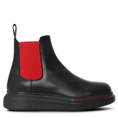 Black and red hybrid chelsea boots