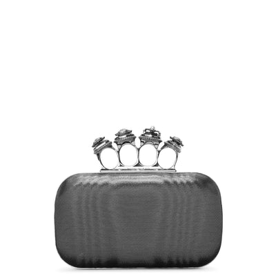 Four Ring metallic moire satin clutch
