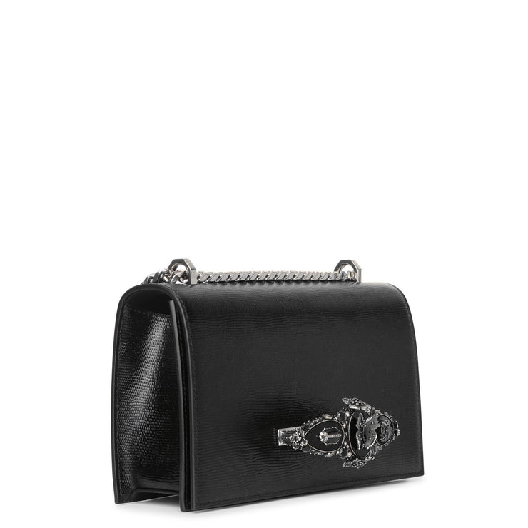 Butterfly Jeweled black satchel bag