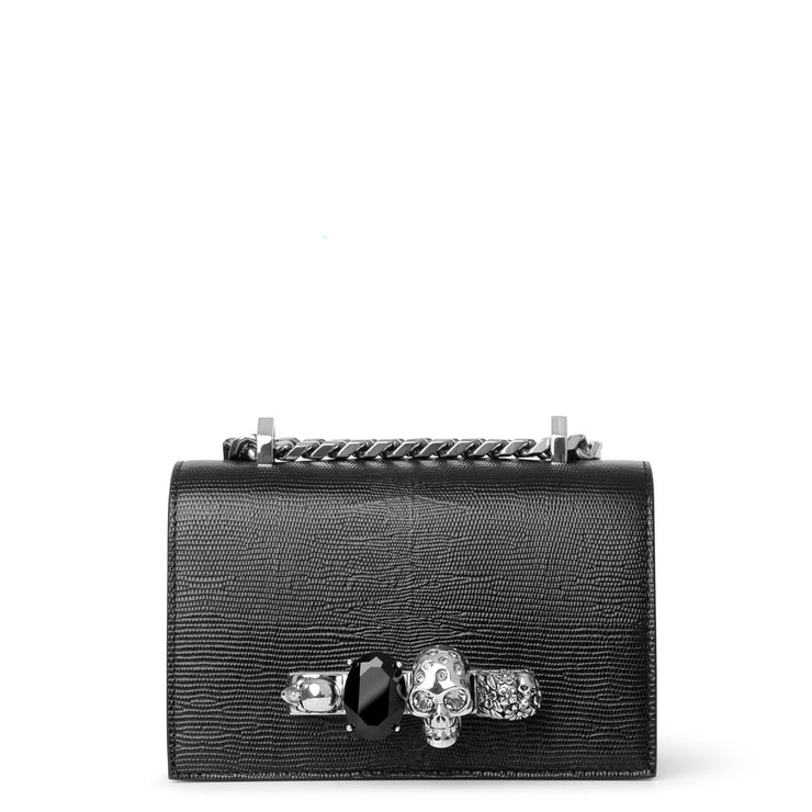 Mini Jewelled black and silver satchel
