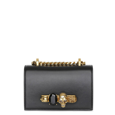 Mini Jewelled black and gold satchel