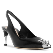 Slingback pin heel black leather pumps
