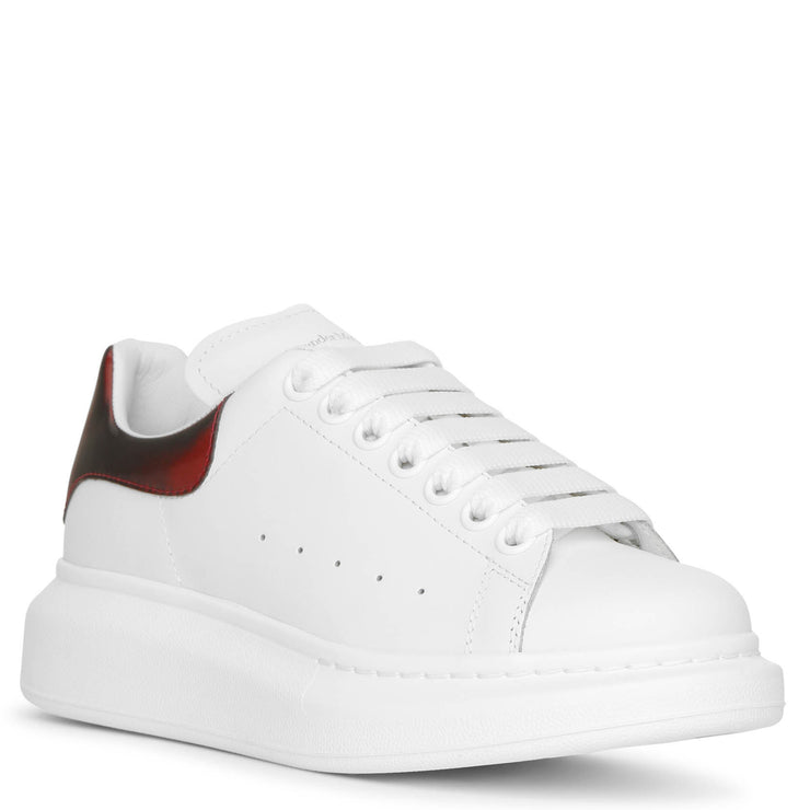White and lust red leather sneakers