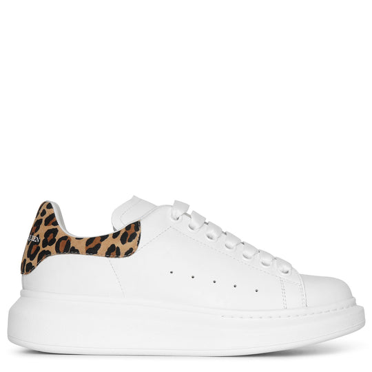 White and leopard suede classic sneakers