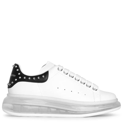 White and black studded classic sneakers