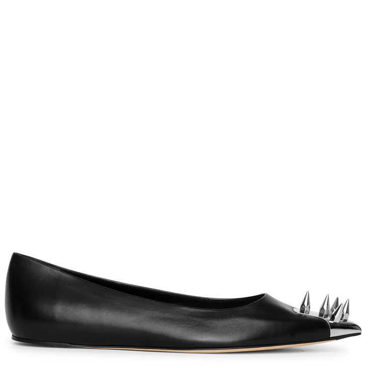 Punk stud soft black ballerinas