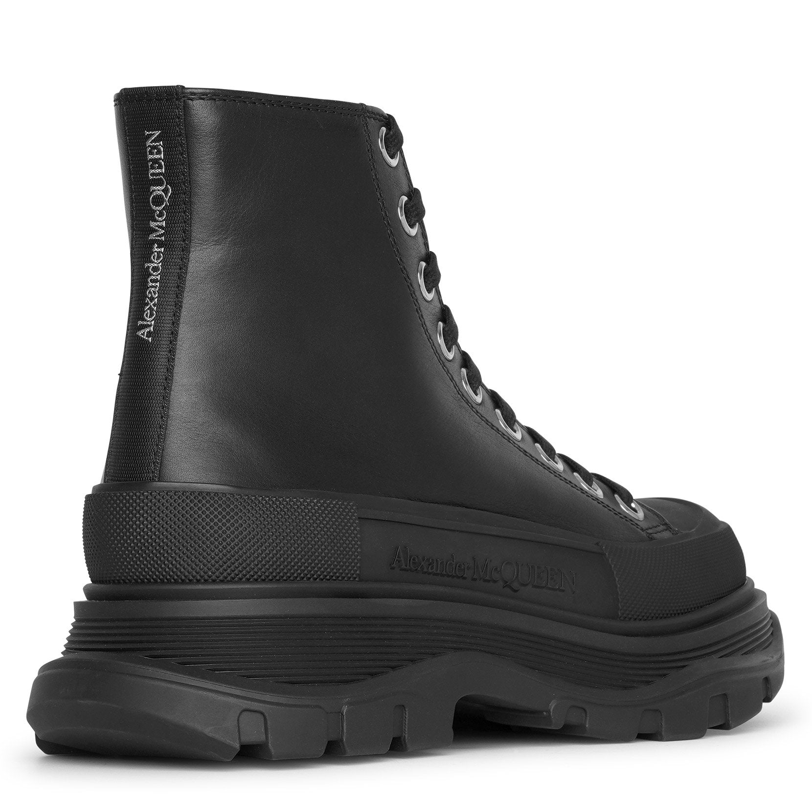 Tread slick high-top black leather boots
