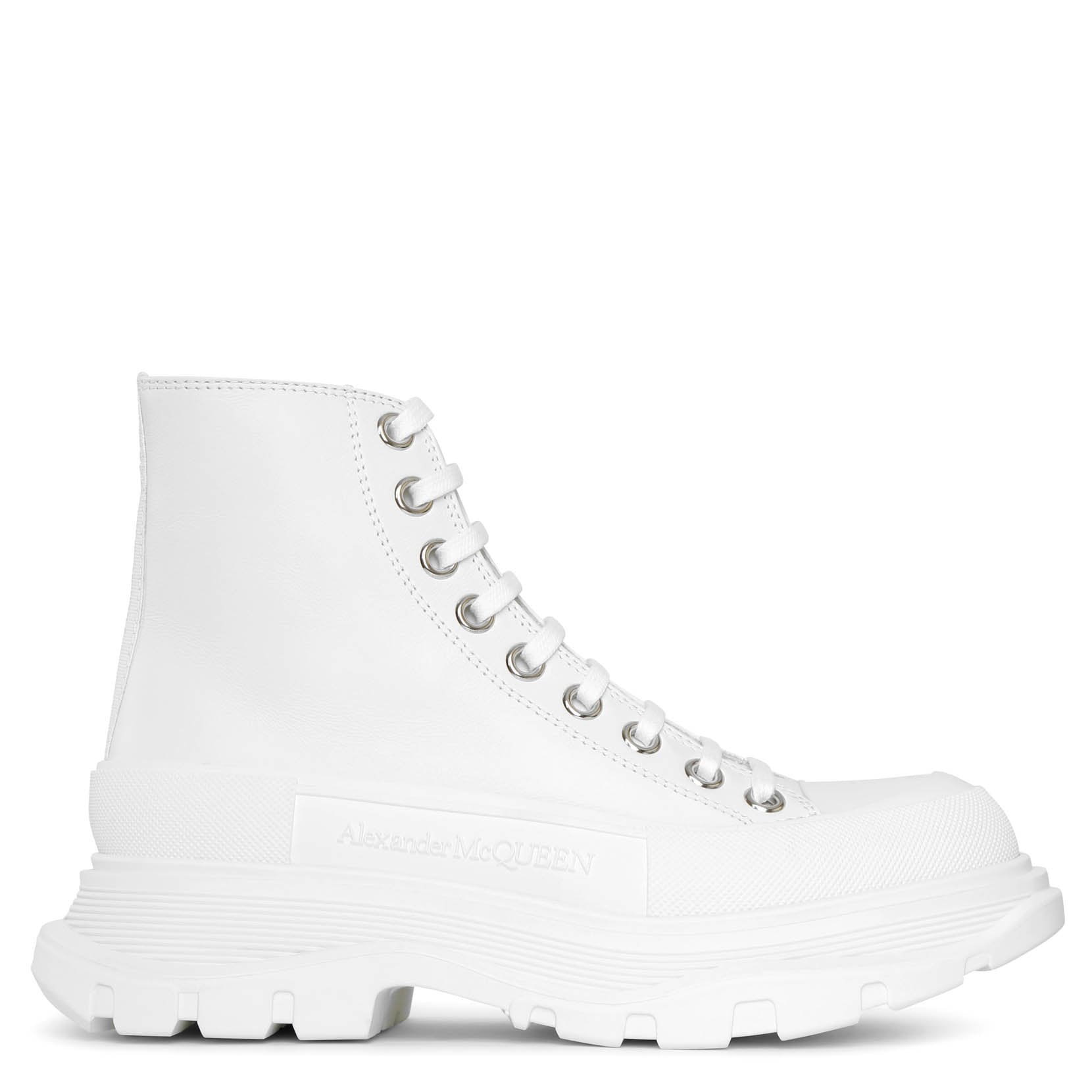 Alexander Mcqueen Tread slick high top white leather boots