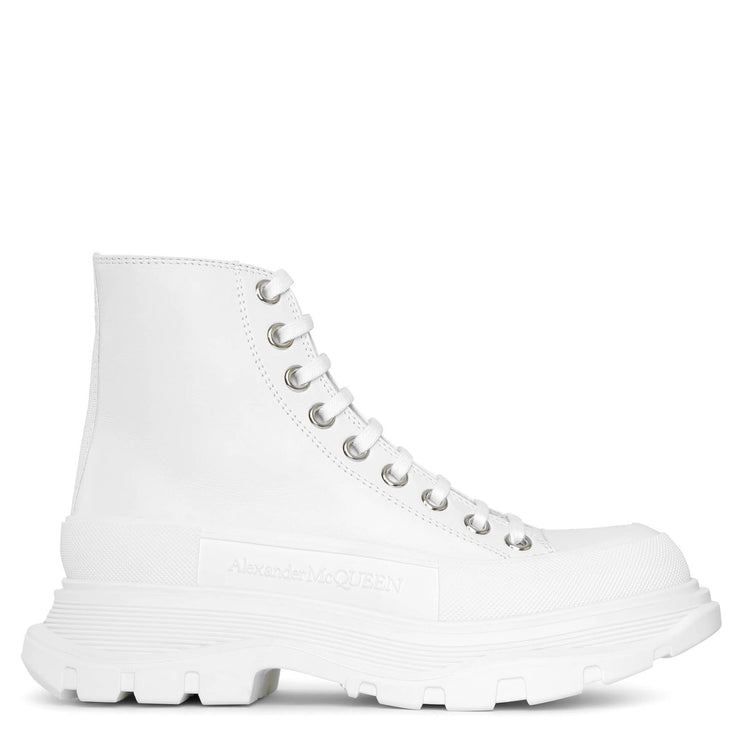 Tread slick high top white leather boots