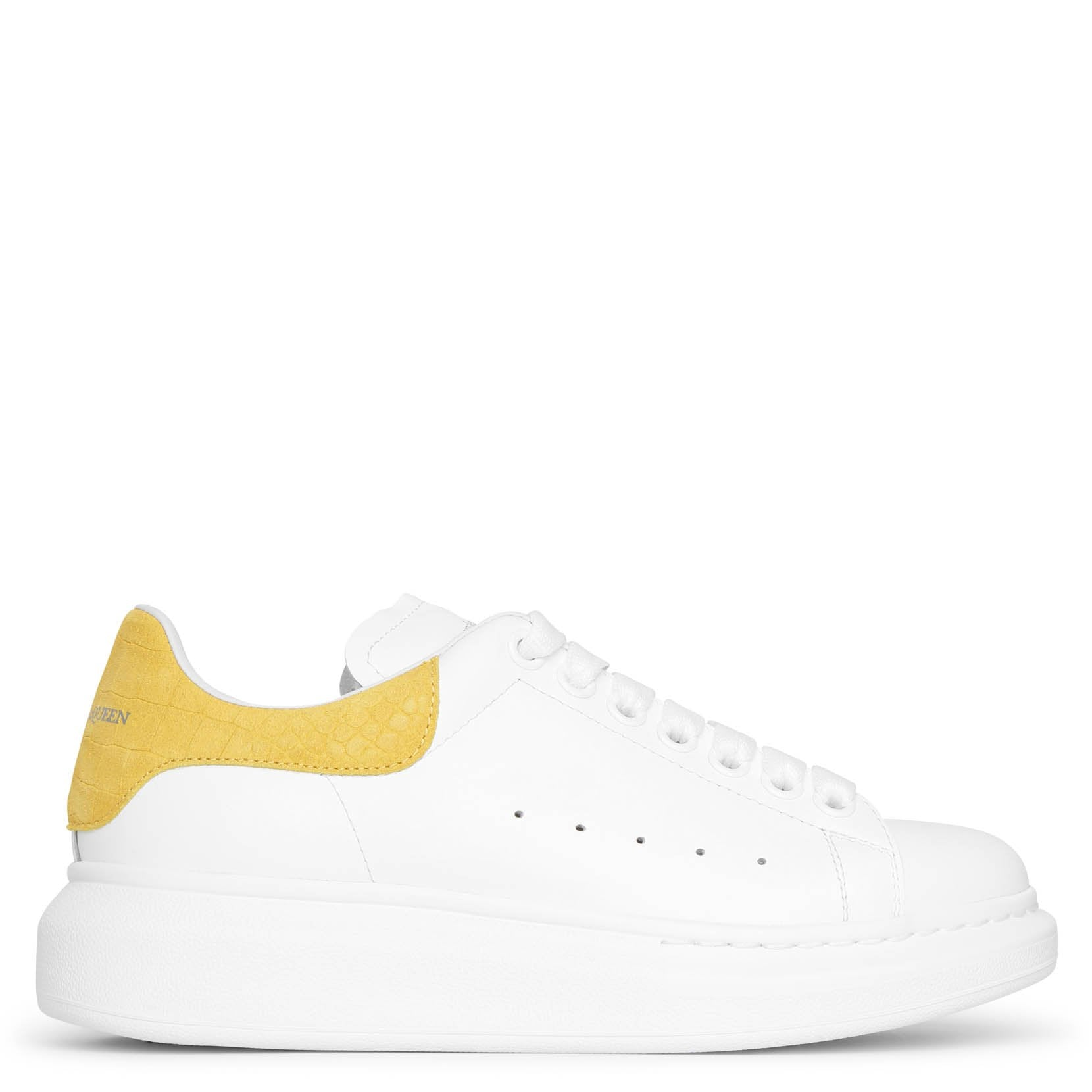 Alexander Mcqueen White and yellow printed suede classic sneakers