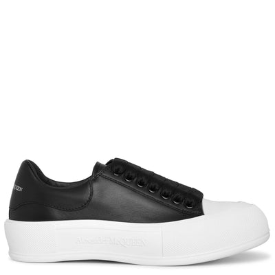 Deck Plimsoll black leather