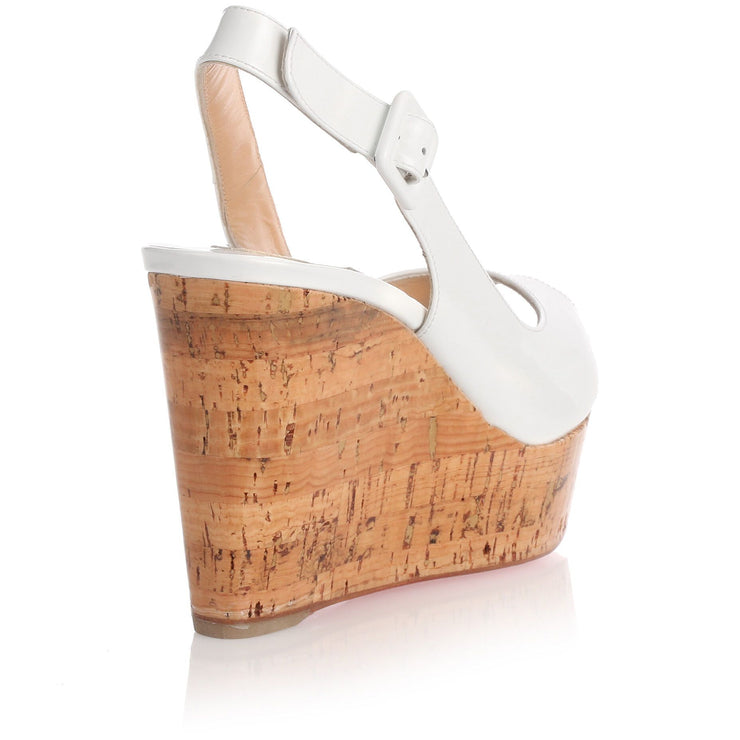 Une Plume white wedge sandal