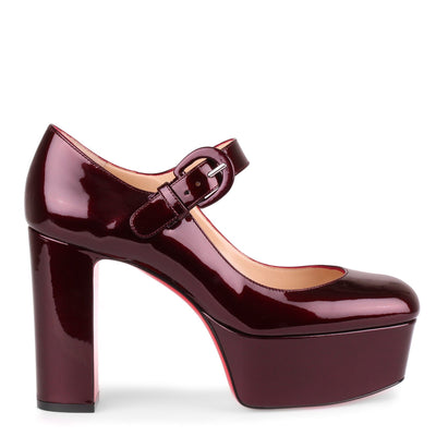 MJ Goes High burgundy patent leather pump
