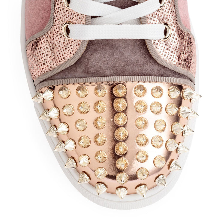Lou Spikes pink suede sneakers