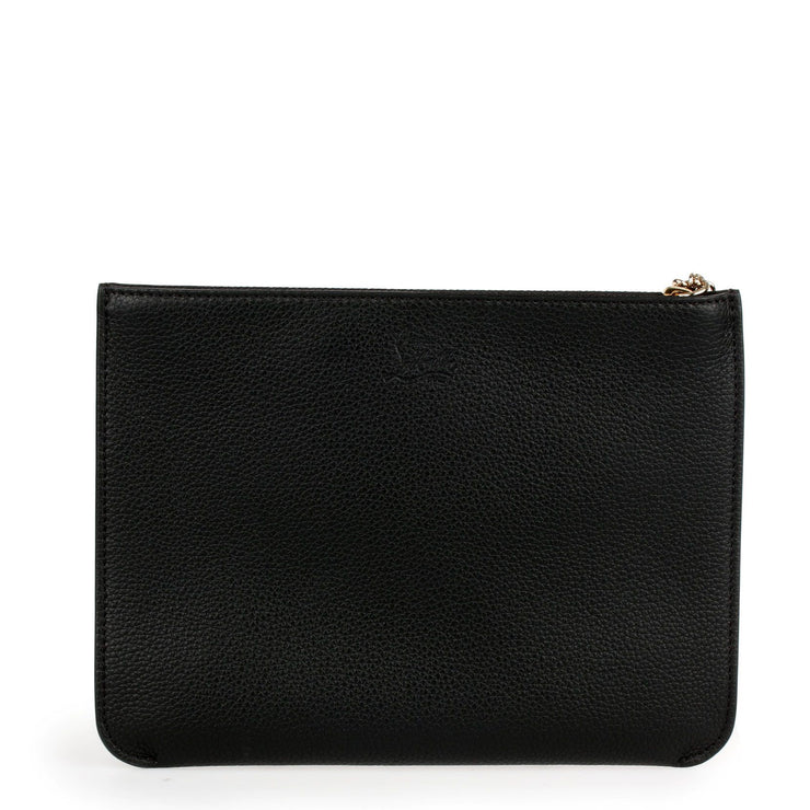 Loubicute black leather pouch