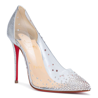 Degrastrass 100 silver patent pumps