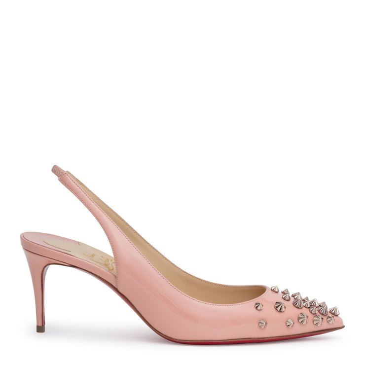 Drama 70 blush patent leather slingback stud pumps