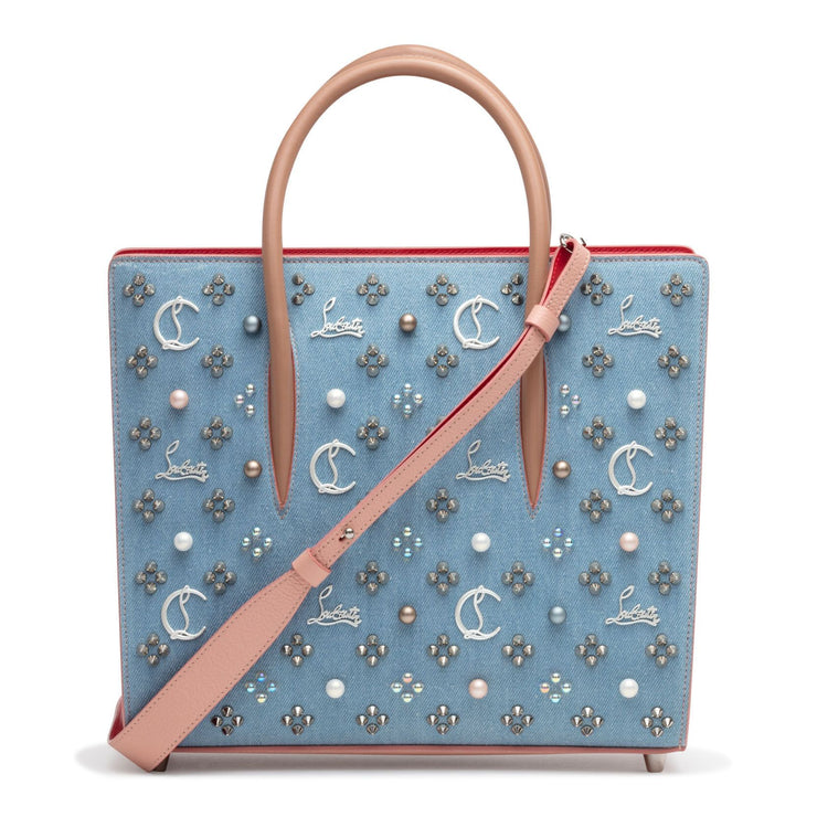 Paloma Loubinthesky Medium Blue Denim Pearl Tote Bag