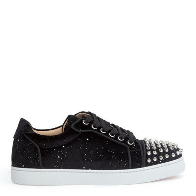 Vieira black velvet spike sneakers