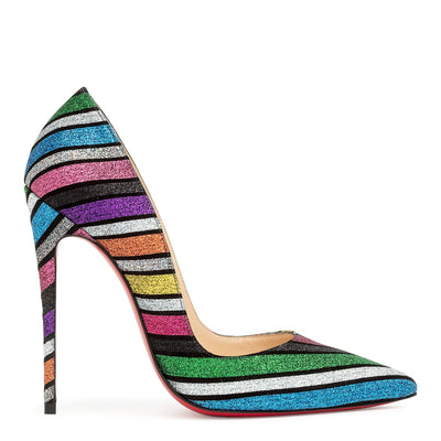 So Kate 120 stripy glitter suede pumps
