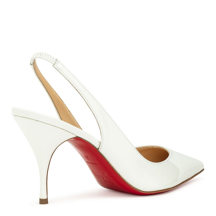 Clare sling 80 patent white pumps