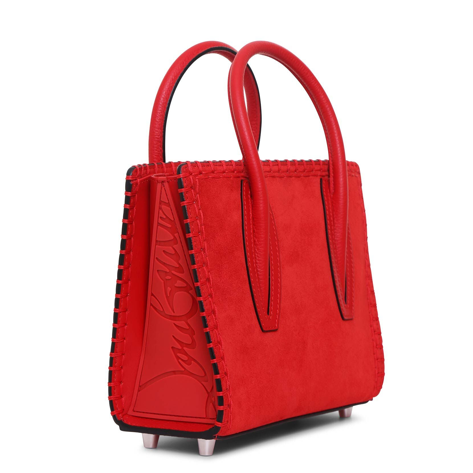 Paloma S mini Loubi red suede tote