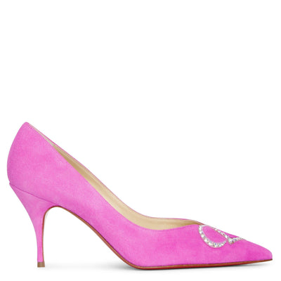 CL Pump Strass 80 pink suede pumps