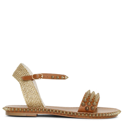 Cordorella spiked flat leather sandals