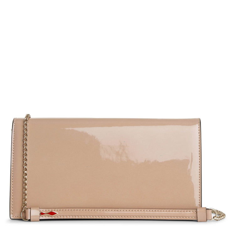 Loubi54 patent shimmer nude clutch