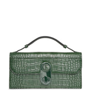 Elisa Baguette green creative leather clutch