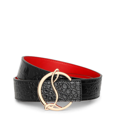 CL logo black leather belt