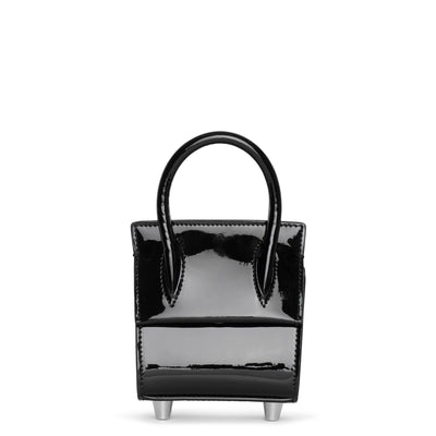 Paloma Top Handle Nano patent black bag