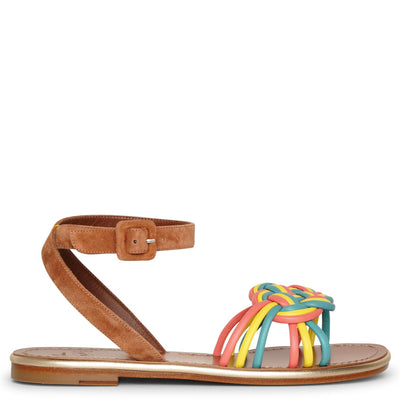Ella flat leather and suede sandals