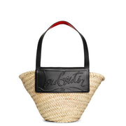 Loubi Shore Small black leather beach tote