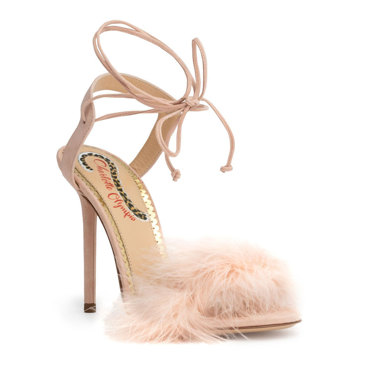 Light pink 100 feather sandals