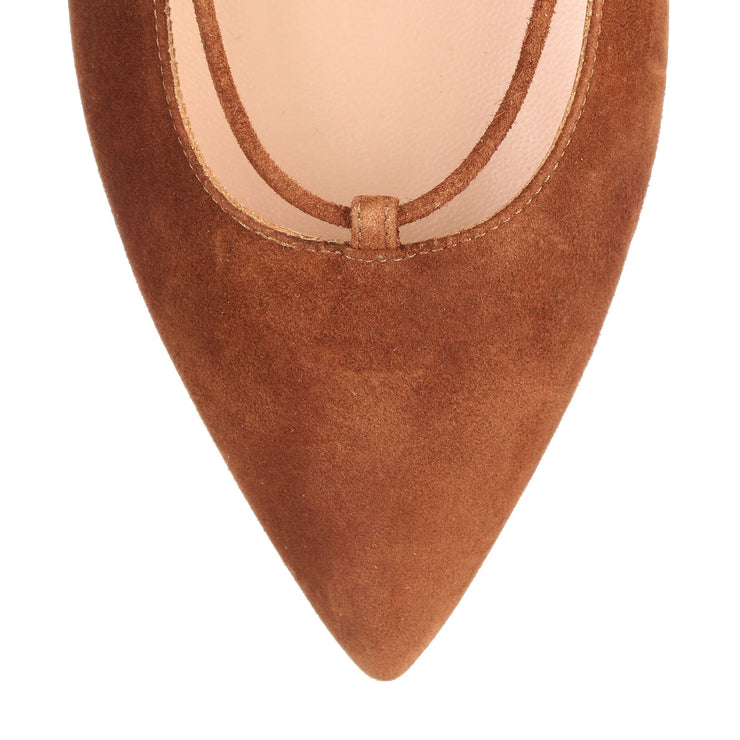 Brown suede lace up Femi' Flat