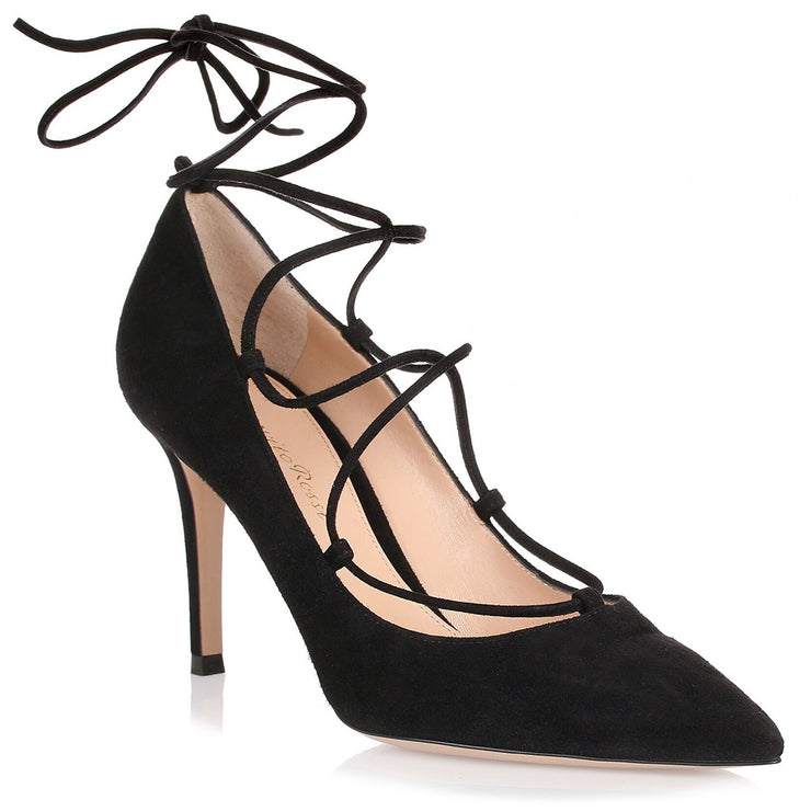 Black suede lace-up pump