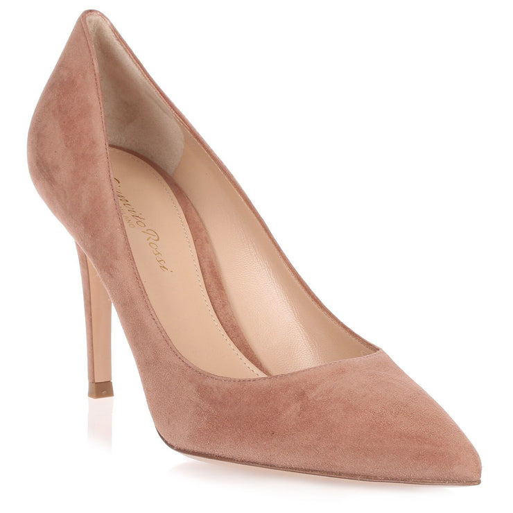Gianvito dark nude suede pump