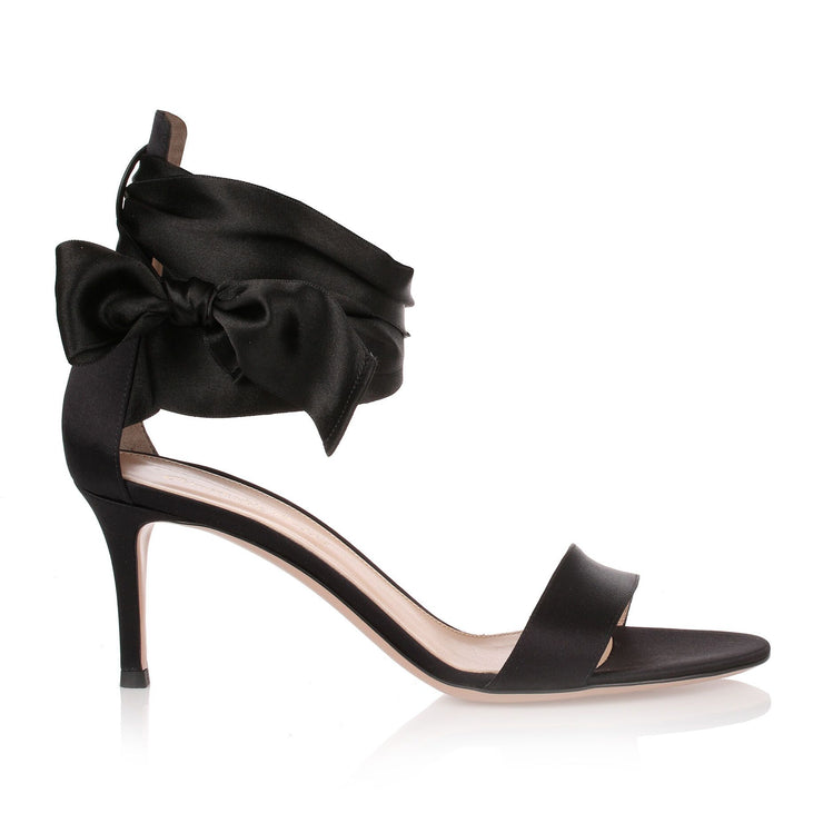 Gala black silk sandal
