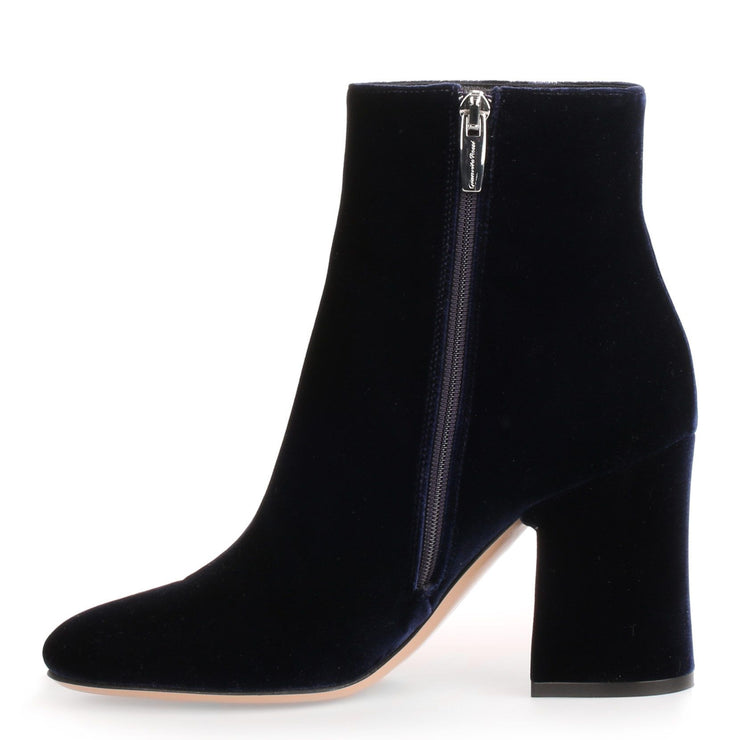 Shelly 85 navy velvet ankle boot
