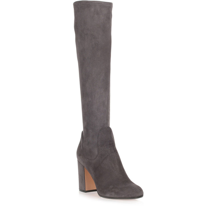Grey suede knee boot
