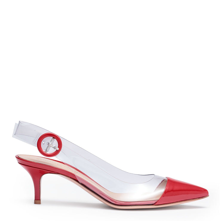 Plexi 55 red patent leather sling back pumps