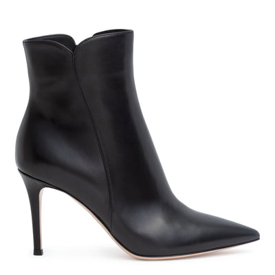 Levy 85 black leather booties