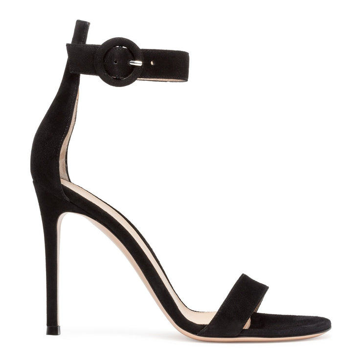 Portofino 105 black suede sandals