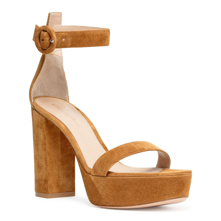 Light brown suede platform sandals