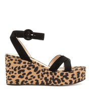 Black suede leopard wedges