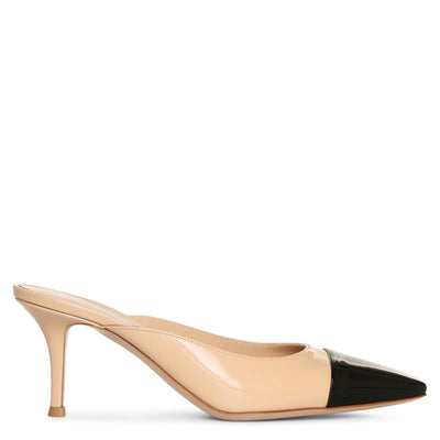 Lucy mule two-tone patent pumps