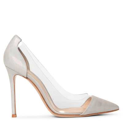 Plexi silver oil suede pumps