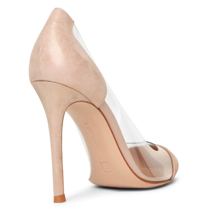 Plexi pink oil suede pumps